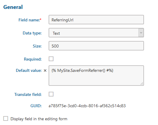 Capturing the Referring URL on Postback in an Online Form in Kentico